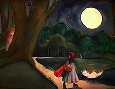 Little Red Ridinghood and the wolf!
